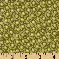 Birds of a Feather Packed Floral Green Fabric