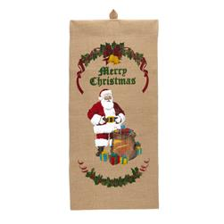 Christmas Santa with Presents Burlap Banner Multi