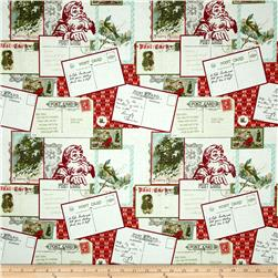 Riley Blake Postcards for Santa Main Red