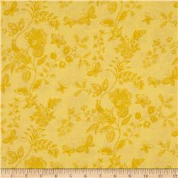 "108"" Wide Quilt Back Floral Butterfly Yellow"