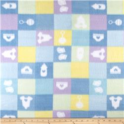 Fleece Print Baby Checkers Blue