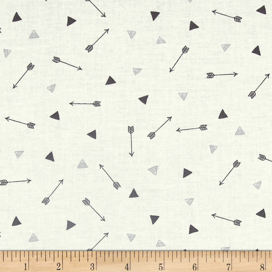 Image of Dear Stella Adventure Awaits Arrows And Triangles White Fabric