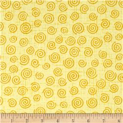 "110"" Wide Quilt Backing Swirl Yellow"