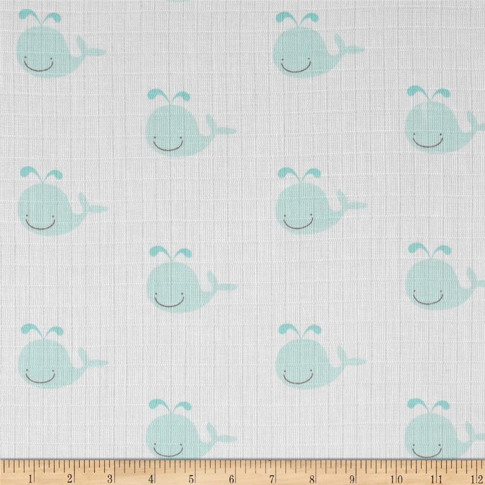 Riley blake double gauze whale aqua discount designer for Whale fabric