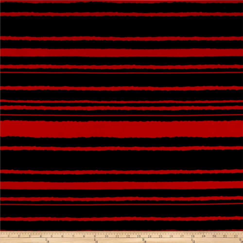 Stripe Span Techno Scuba Knit Red/Black