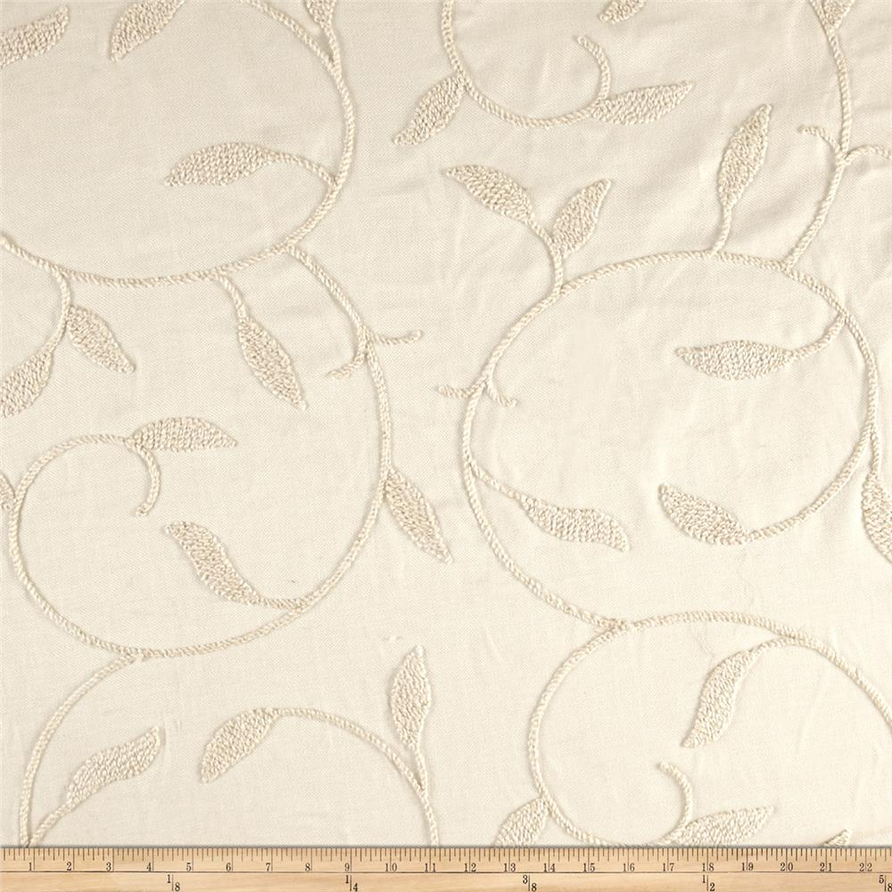 Home Dec Faux Linen Crewel Embroidery Foliage