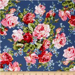 American Bouquet Flannel Floral Spray Blue Fabric