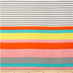 Rayon Jersey Knit Stripes Pink/Orange/Grey/Aqua