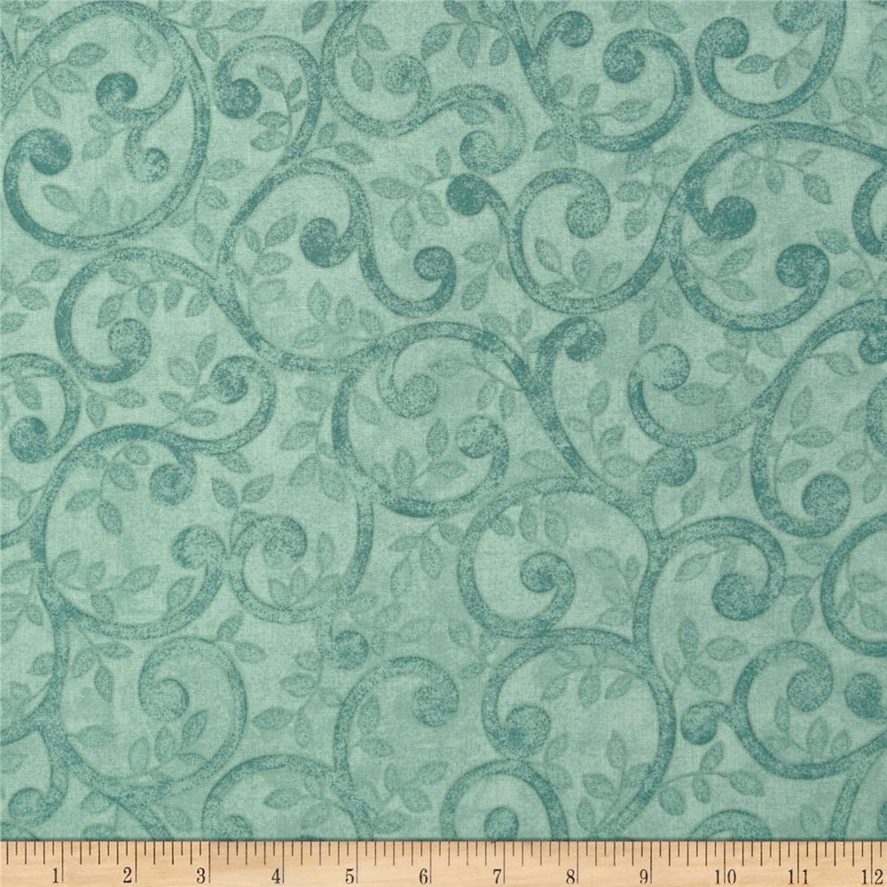 "Left Bank Wide Scroll 104"" Quilt Back Scroll Teal"