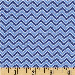 Alpine Flannel Basics Chevron Medium Blue Fabric
