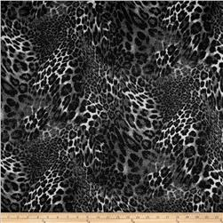 Stretch Nylon Double Knit Leopard Glitter Grey/Black Fabric