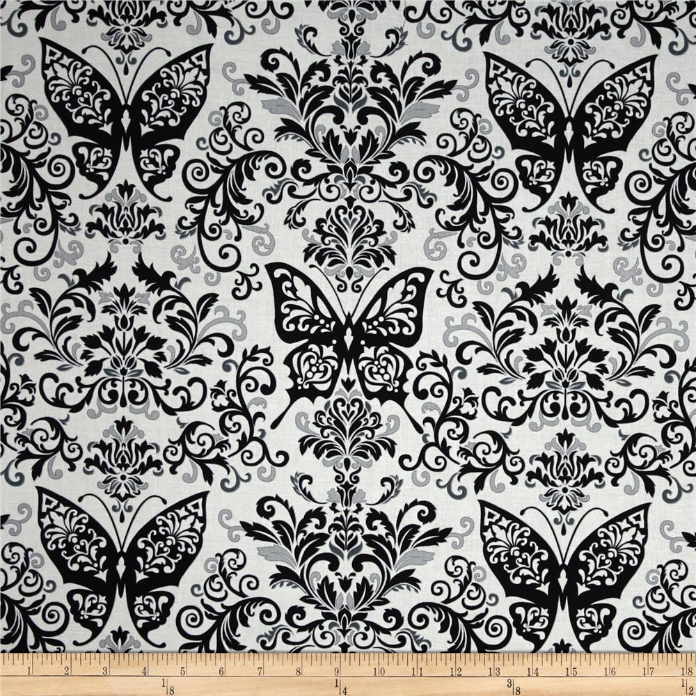 Black, White & Currant 6 Butterfly Damask White/Grey