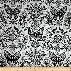 Black White & Currant 6 Butterfly Damask White/Grey