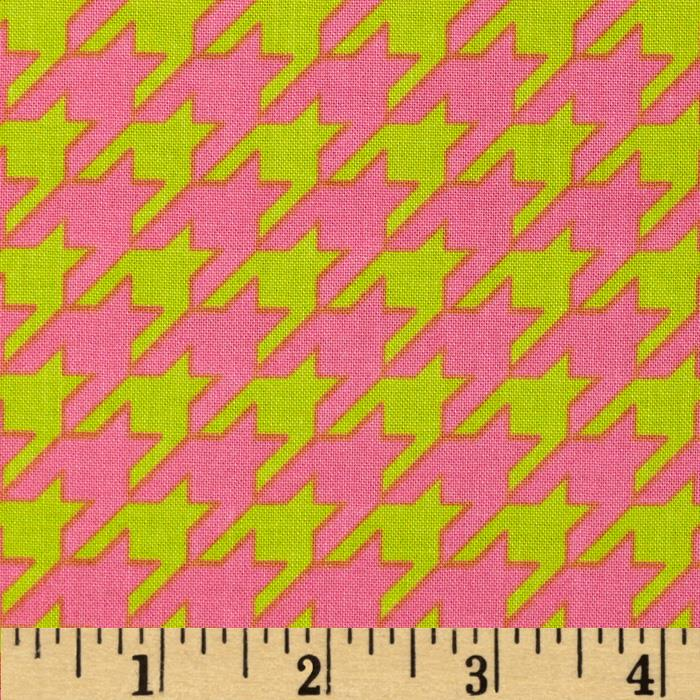 Riley Blake Medium Houndstooth Lime/Hot Pink