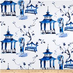 Michael Miller Bekko Home Decor Pagoda Garden Blue