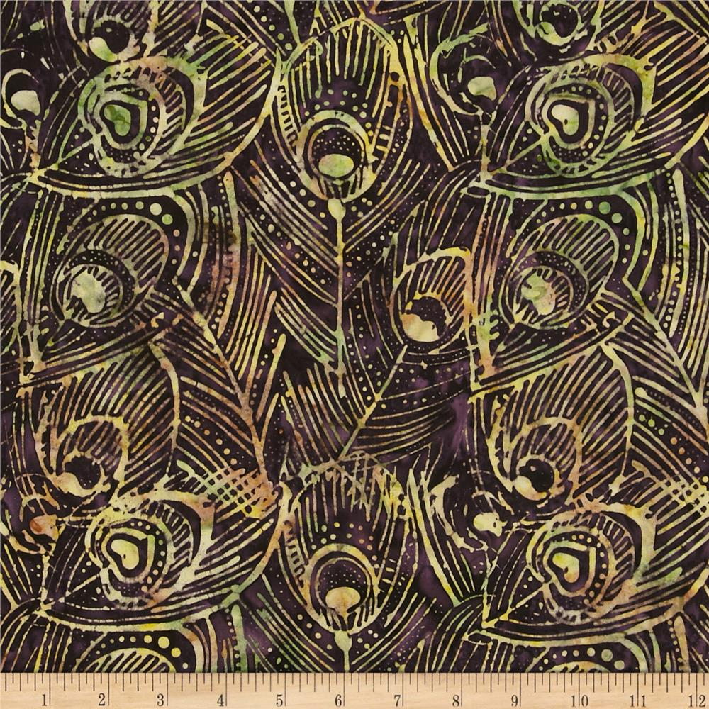 Timeless Treasures Tonga Batik Peacock Feathers Eggplant