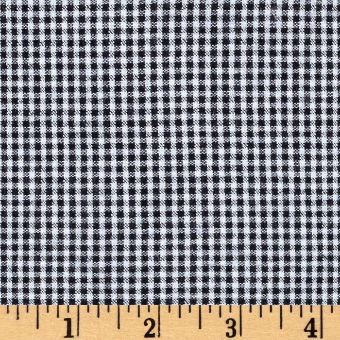 Cotton Seersucker Check Black/White