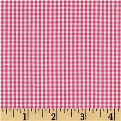 Micro Check Cotton Poly Shirting Hot Pink/White