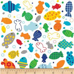Riley Blake In The Ocean Fish White Fabric