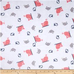 Minky Cuddle Prints Whales Coral