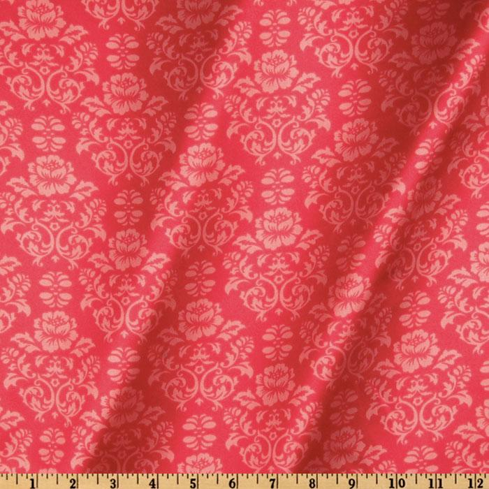 Robert Kaufman Silky Satin Victorian Damask Watermelon