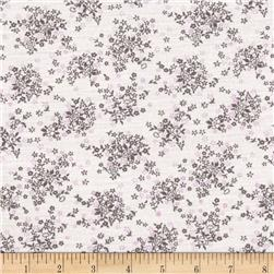 Jersey Knit Tiny Flowers Gray