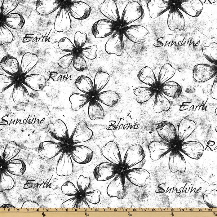 Premier Prints Flower Sketch White/Black