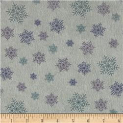 Moda Winter Forest Flannel Snowflakes Eucalyptus