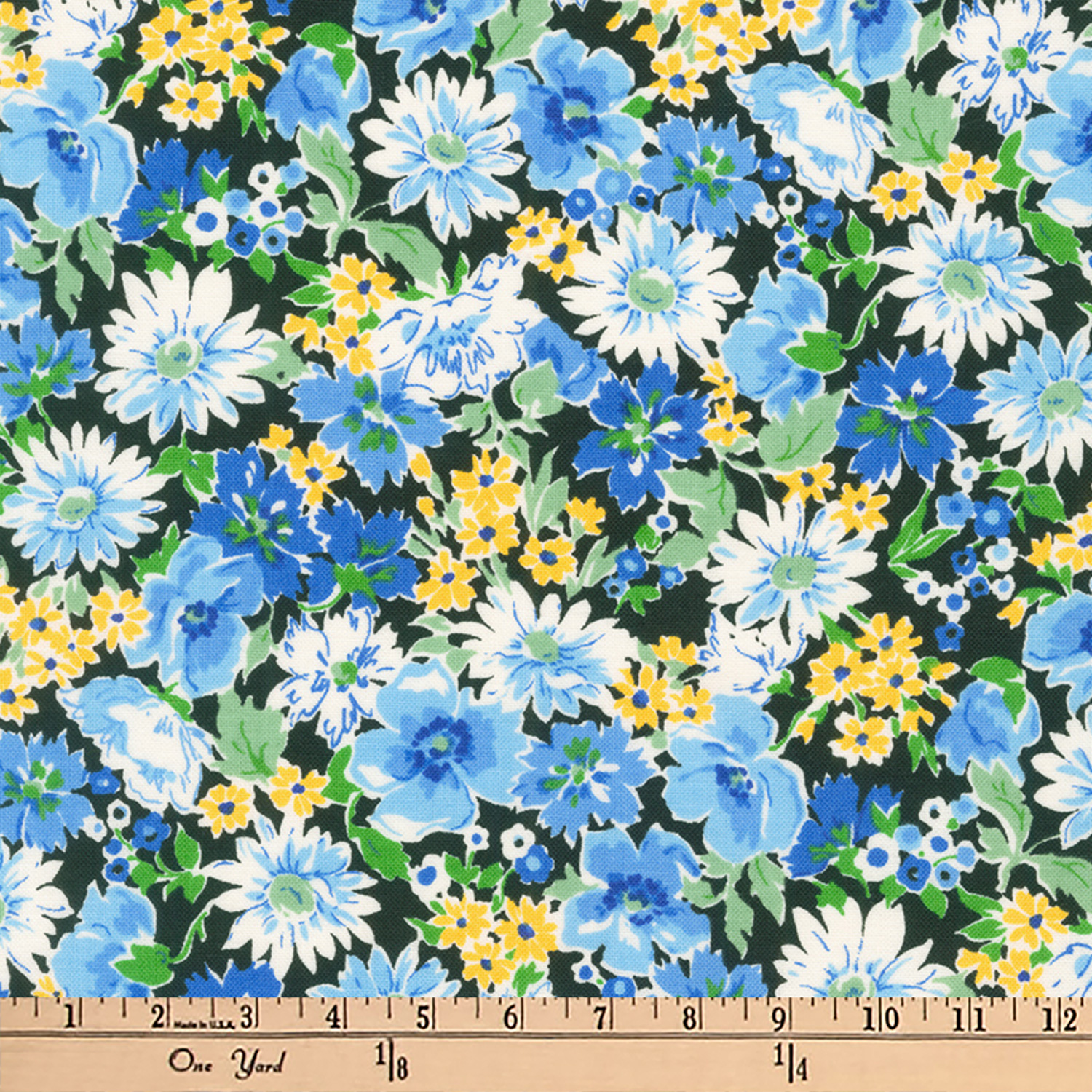 Kaufman Flora Flower Spray Blue Fabric 0516198