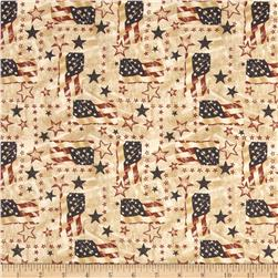 Stars & Stripes II Tossed Flags & Stars Antique/Cream
