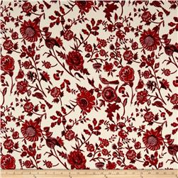 Liverpool Double Knit Large Floral Cream/Red