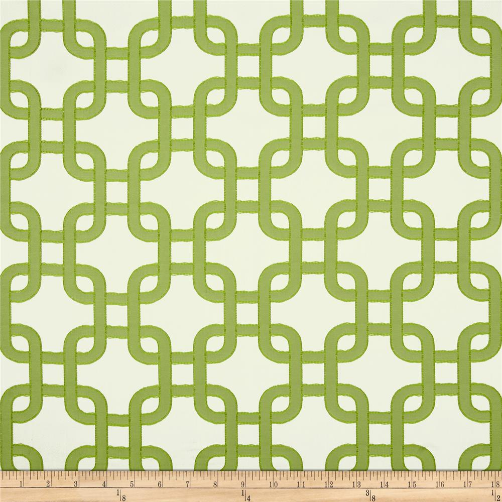 Roller Chain Link Satin Jacquard Apple Green