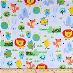 Comfy Flannel Funky Animals Blue Fabric