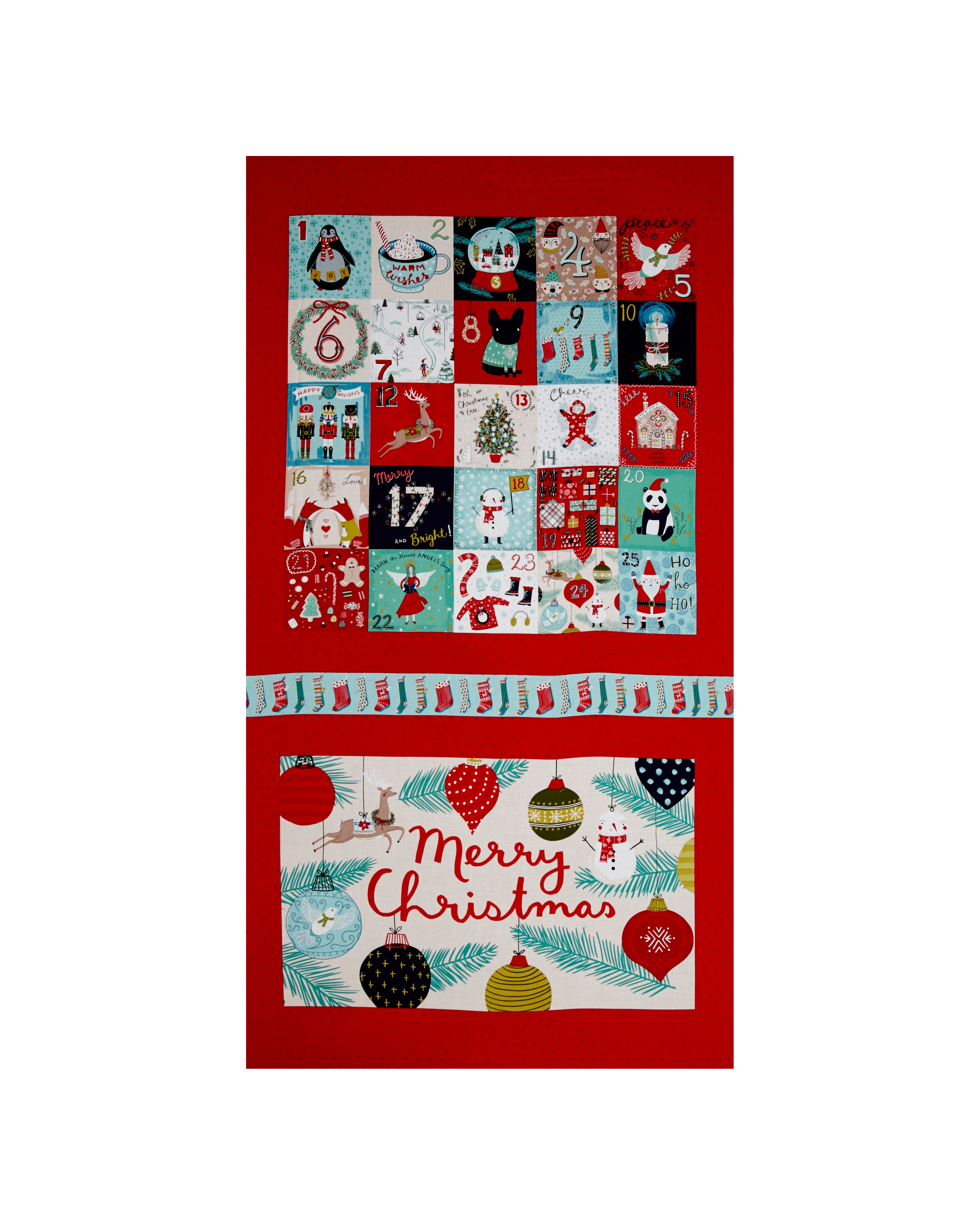 Image of 25 Days of Christmas Large 23'' Panel Advent Light Red Fabric