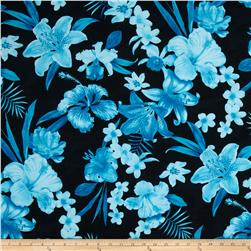 Kaufman Tahitian Nights Poplin Spaced Flowers Turquoise