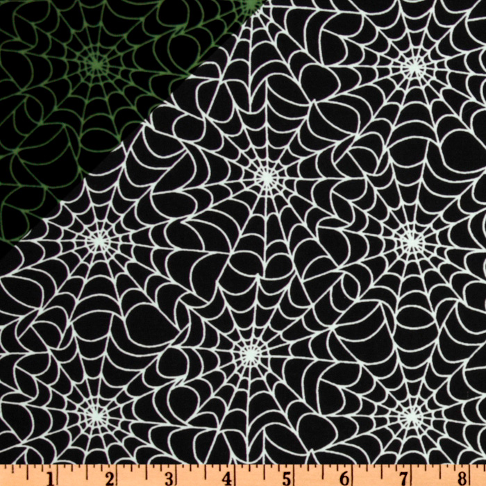 Timeless Treasures Spider Web Glow-in-the-Dark Black Fabric