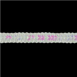 1/2'' Hologram Sparkle Edge Sequin Trim White Aurora