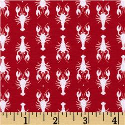Riley Blake Stretch Cotton Jersey Knit Lobster Red