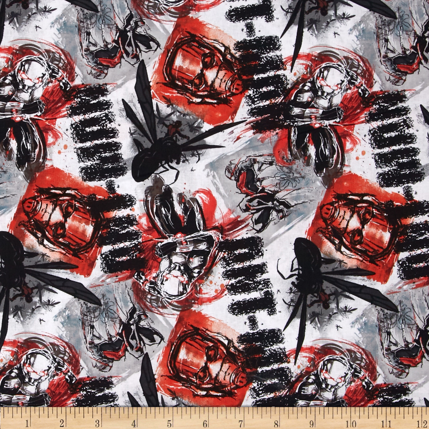 Marvel Ant Man Ant Man Allover Red Fabric by E. E. Schenck in USA