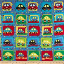 Fleece Print Cars Blue/Red/Green