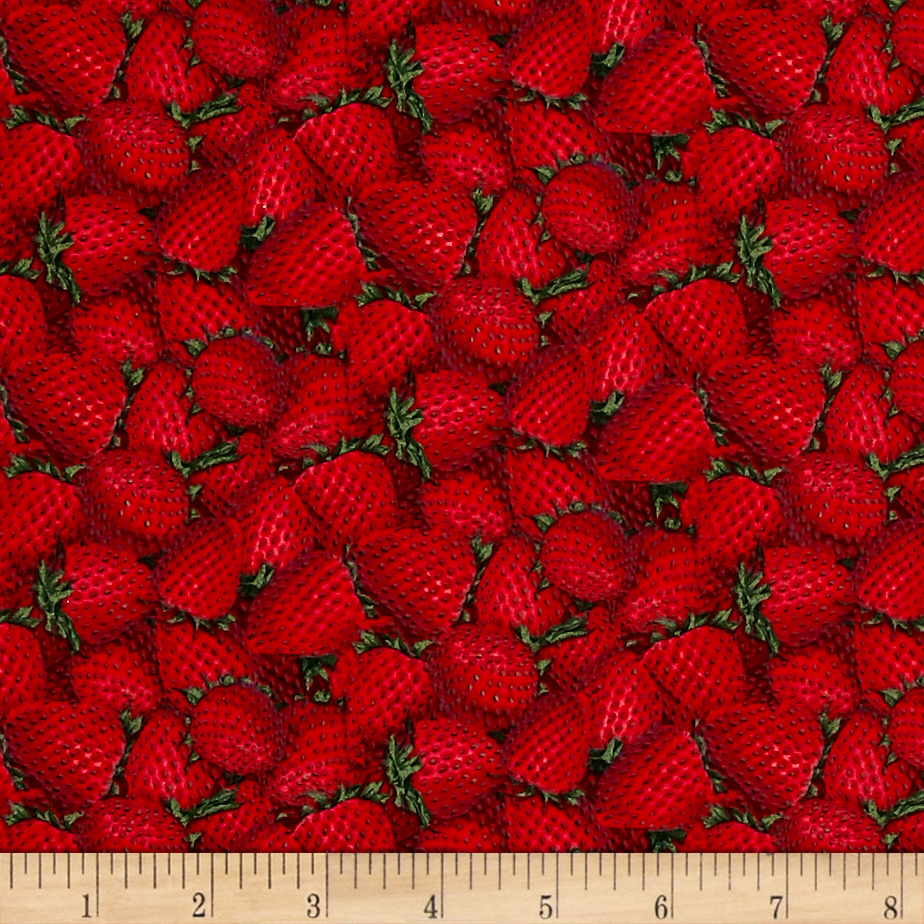 Packed Strawberries Red Fabric by Fabric Traditions in USA