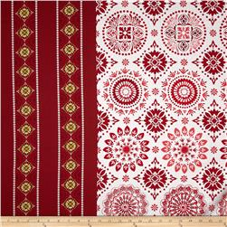 Holly Jolly Large Medallion Border Red