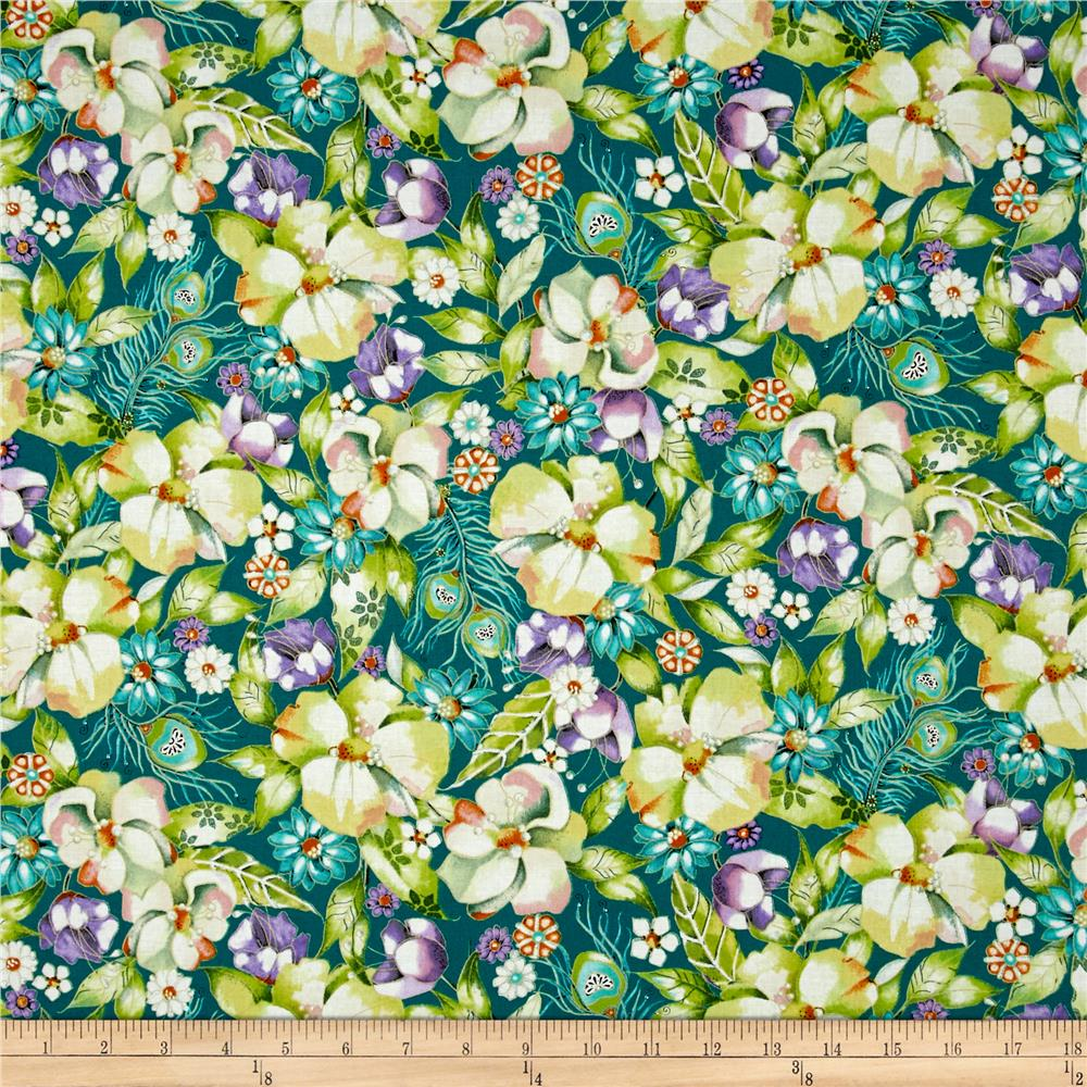Pretty As A Peacock Floral Teal