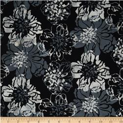 Bali Batiks Handpaints Cliff Rose Pewter Fabric
