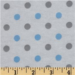 Dreamland Flannel Happy Dots White/Dreamy Blue