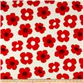 Kokka Trefle Flower Canvas Red