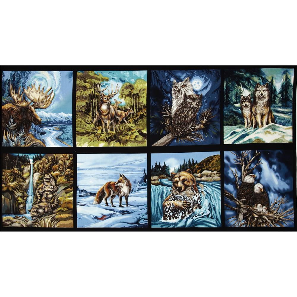 North American Wildlife 3 Block Panel 24 In. Animals Nature Fabric By The Yard