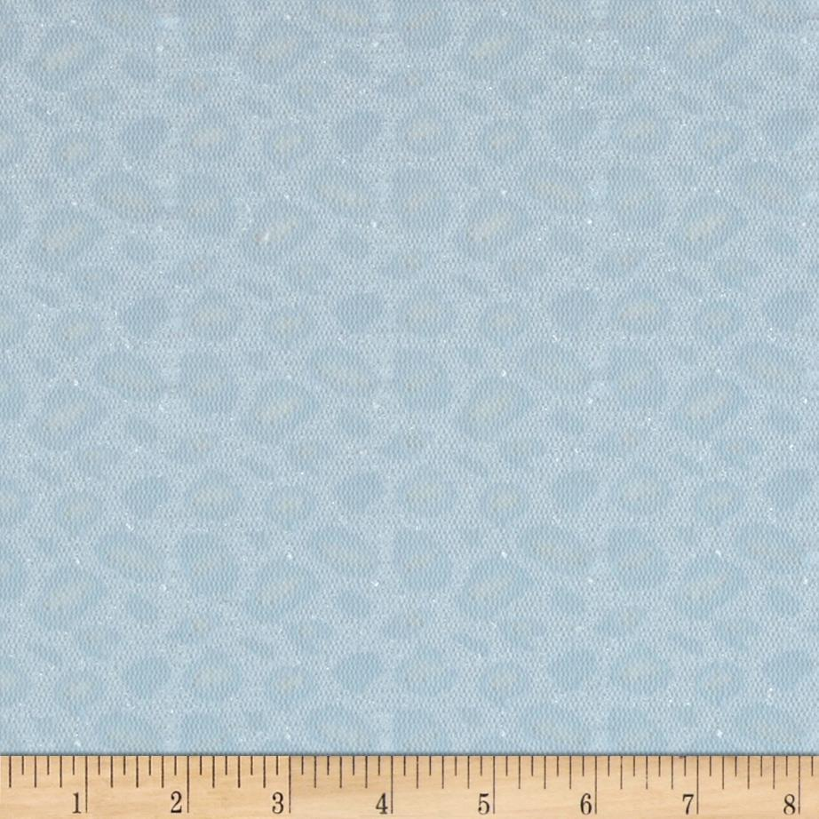 Stretch Lace Knit Leopard Silver Blue