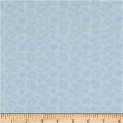 Stretch Lace Knit Leopard Silver Blue Fabric