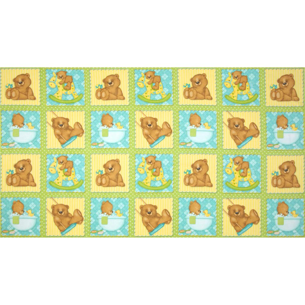 Bear Hugs Flannel Bear Blocks Green